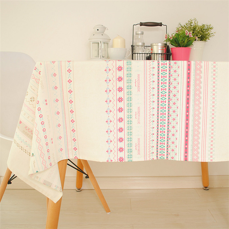 Bohemian Style Stripe Thick Cotton+Linen Tablecloth / table cloth for Dining Table Tea Towel Accept Customized 6 Sizes(China (Mainland))