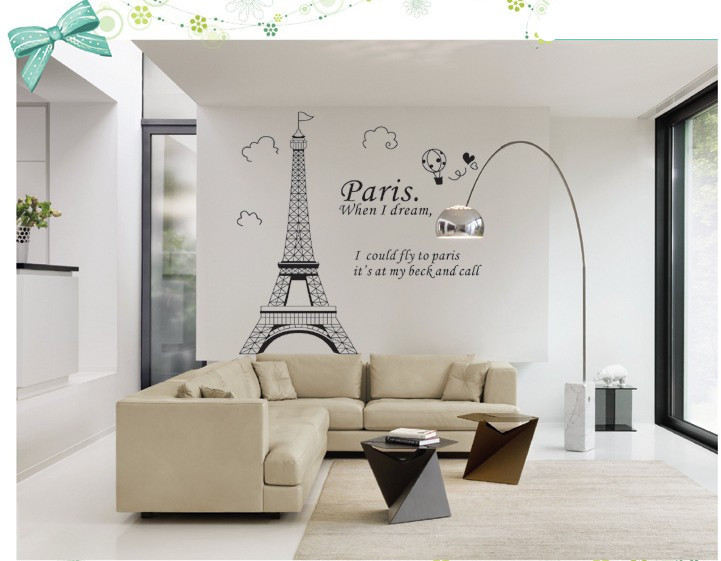 Paris eiffel tower bathroom home decor wall decals family bedroom decoration adhesive poster - Eiffel tower decor for bedroom ...