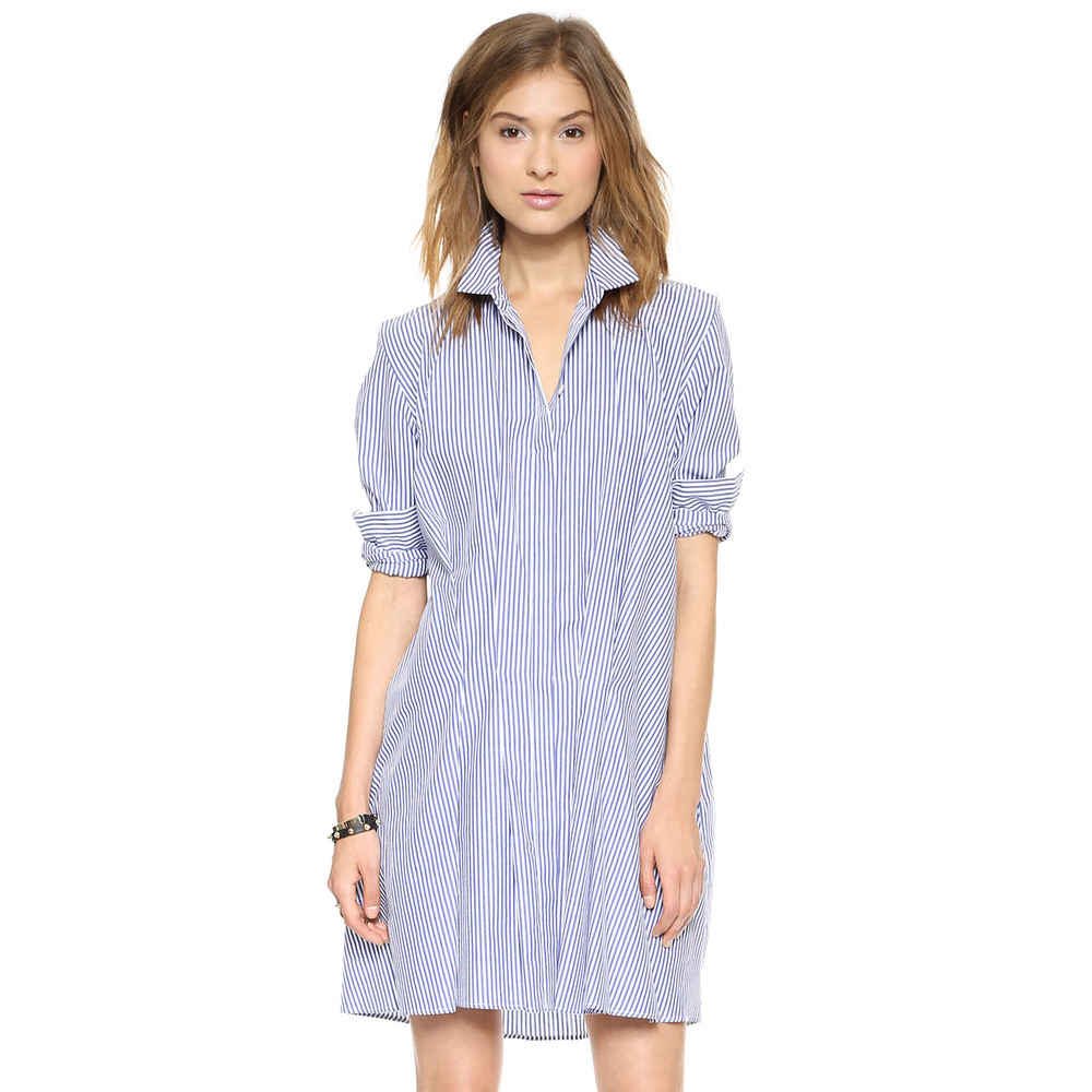 2015 women 39 s sexy dress blue and white stripe poplin shirt