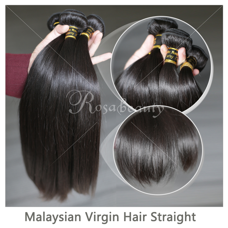 Rosa Hair Products Grade 6A Malaysian Virgin Hair Straight 3Pcs/Lot Malaysian Human Hair Malaysian Hair Bundles Free Shipping(China (Mainland))