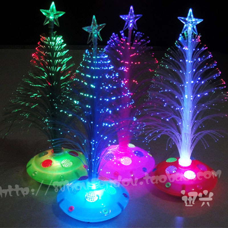 Christmas 2015 25 cmchristmas tree fiber optic light color light-emitting Christmas tree flowers 3 d home decoration gifts(China (Mainland))