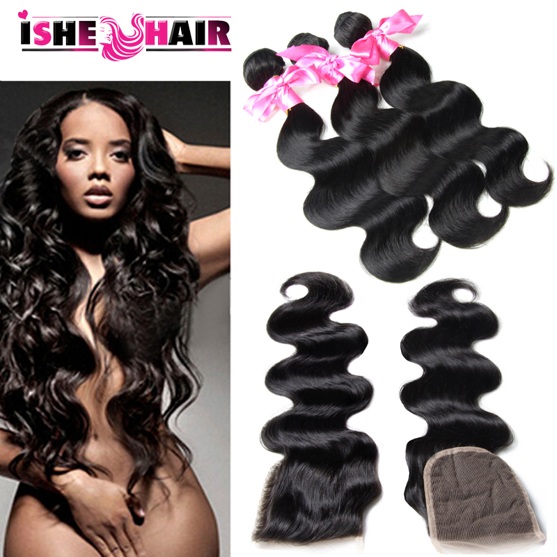 Grade 7a Brazilian Virgin Hair with Closure 4 bundles Brazilian Lace Closure 100% human hair weave Brazilian Body Wave Closure