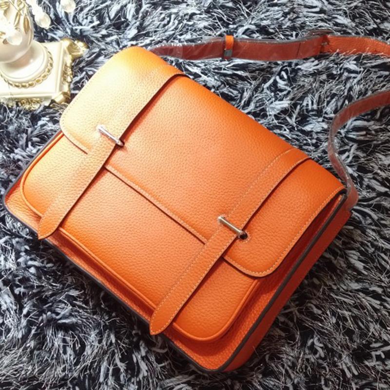 fashion vintage genuine leather briefcase women leather handbags documents portfolio shoulder messenger laptop bag(China (Mainland))