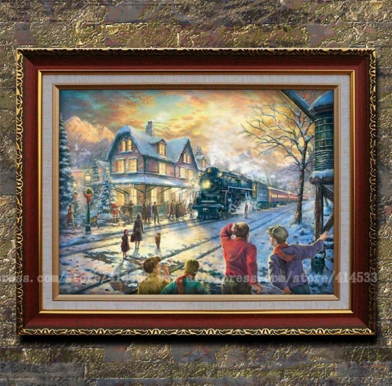 Thomas kinkade prints oil painting All Aboard for Christmassnow scenery painting office Home decor modern wall painting Framed(China (Mainland))