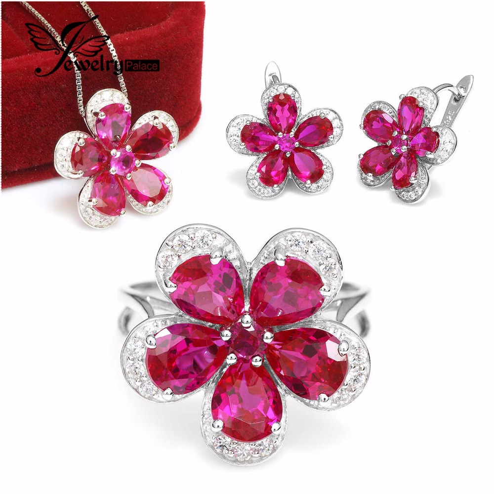 Gleaming Ruby Flower Shape 925 Sterling Silver Jewelry Set Ring Pendant Earring Clip 925 Sterling Silver Fine Jewelry women(China (Mainland))
