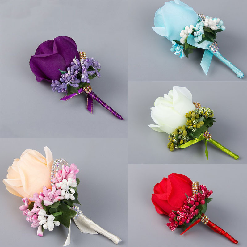 Wedding Flowers And Corsages : Pc ivory red best man corsage for groom groomsman silk