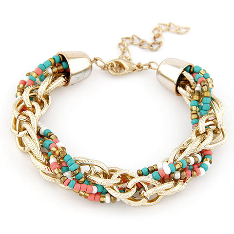 Hot Sale New Western Style Bead Jewelry Bohemia Fashion Temperament Polychrome Color Metal Beads Bracelet For Women D211(China (Mainland))