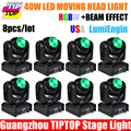 Free shipping High quality 8pcs lot 40w led moving head light RGBW 4in1 Cheap led moving