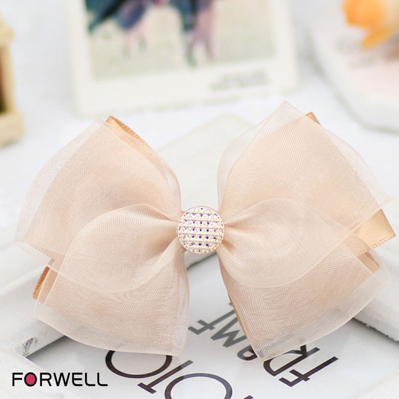 The new manual bow hair accessories for girls champagne silk yarn composite bow hairpins hair rope 2016 headwear hair ornaments(China (Mainland))