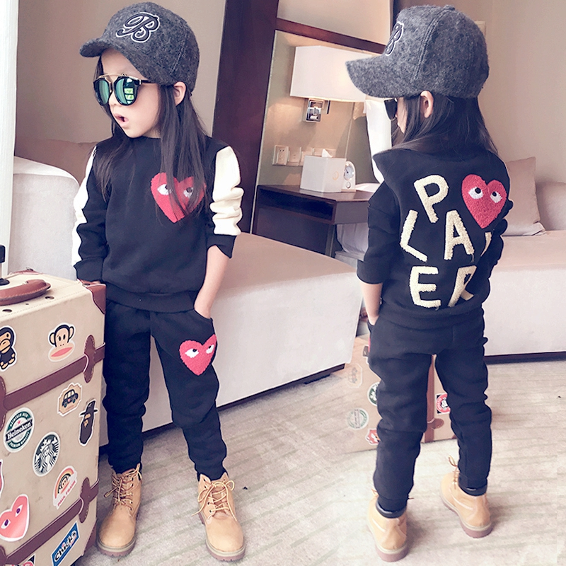 Fashion outfits kids 2015 baby girl casual set long-sleeve play pullover sweatshirt pants baby comme des garcons sportswear(China (Mainland))