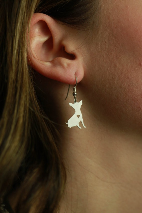 SALE Chihuahua Earrings Silver Dog Charms Dangle Earrings Memorial -Mothers Day Gift -Dog Lover For women bijoux Wholesale