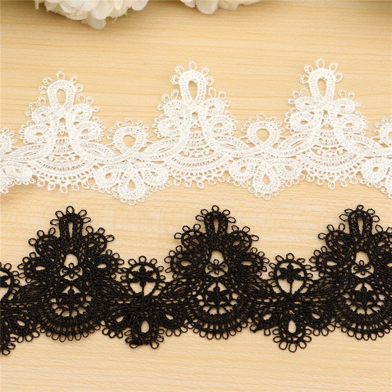 Polyester Sewing Craft Crochet Scallop Shape Net Lace Trim Clothe Embroidered Applique Decorative Ribbon For Home Decoration(China (Mainland))