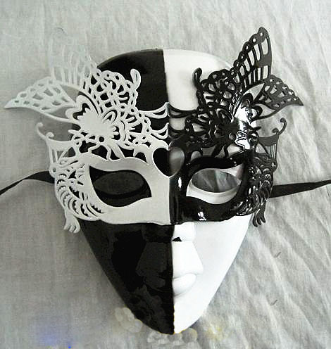 Hiphop boy mask full butterfly mask plastic black and white unique design(China (Mainland))
