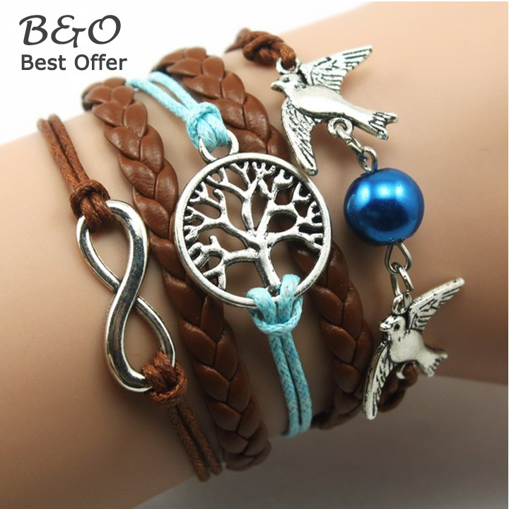 Hot Sale Fashion Vintage Bird Tree Owls Rudder Rope Bracelet Women Leather Multilayer bracelets bangles 36(China (Mainland))