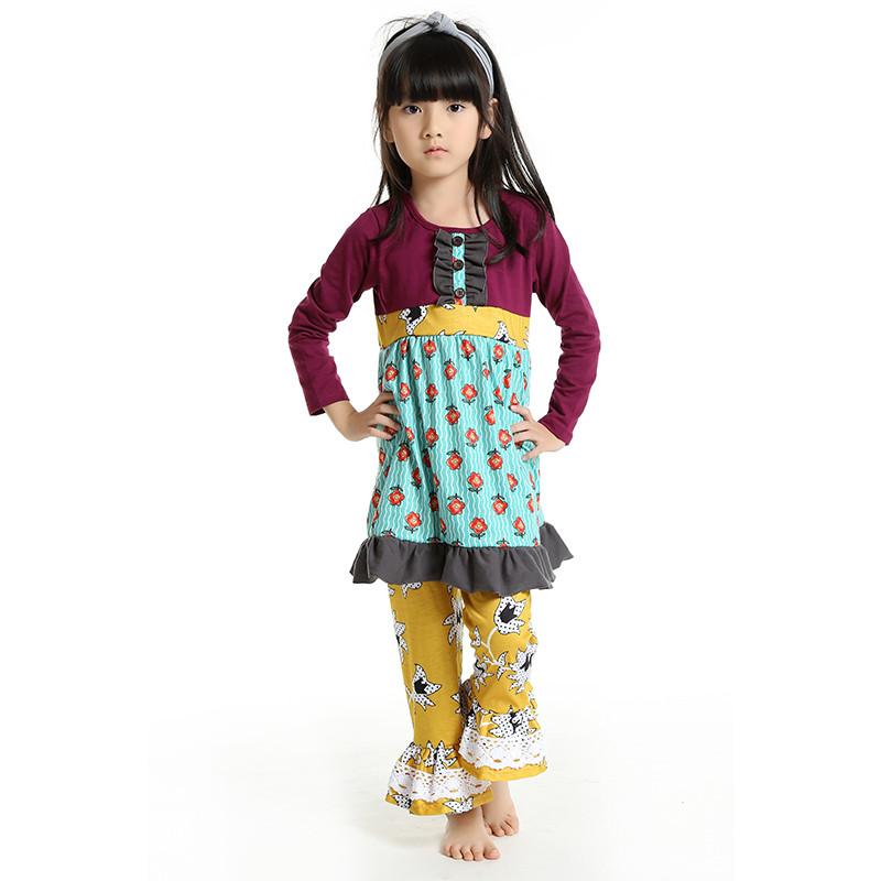 Здесь можно купить  2016 New Baby Girls Toddler Infant Kids Clothing Set Boutique Outfit Floral Long Sleeve Ruffle Top Pant Christmas Free Shipping  Детские товары