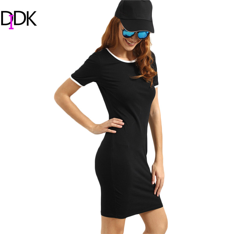 DIDK Ladies Summer Casual Dresses Womens Hot Sale Black Short Sleeve Round Neck Patchwork Sheath T-shirt Shot Dress(China (Mainland))