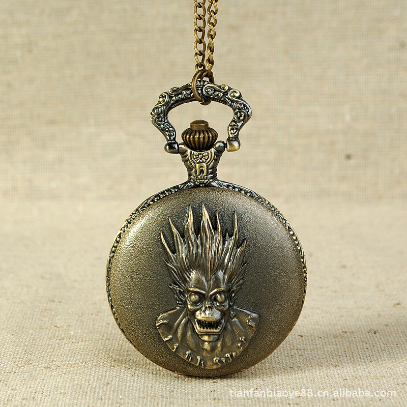 Men Pocket Watch Male Necklace Vintage Quartz Watches Birthday Labour Demon Figure TKS217(China (Mainland))