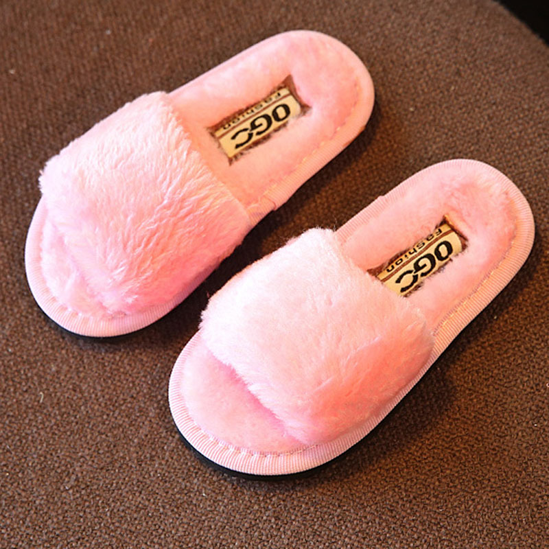 Winter Children Slippers for Home Floor Soft Plush Kids Girls Shoes Candy Color Child Shoes Girl Slippers CSH234(China (Mainland))