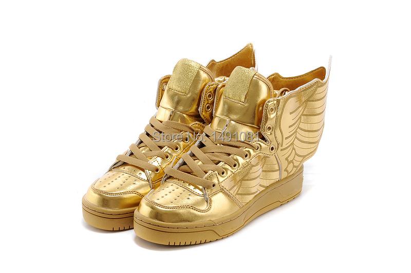 2015 newest Women & Men JS wings sneakers men golden boarding shoes casual max high top