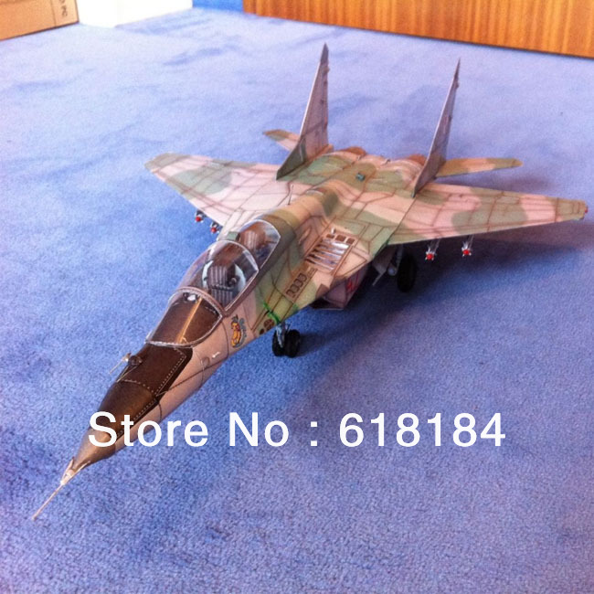 Free shipment diy toy paper model Airplane toys 52CM long 1:33 Russia Mig 29 UB Fighter 3d puzzles handmade aircraft decorations(China (Mainland))