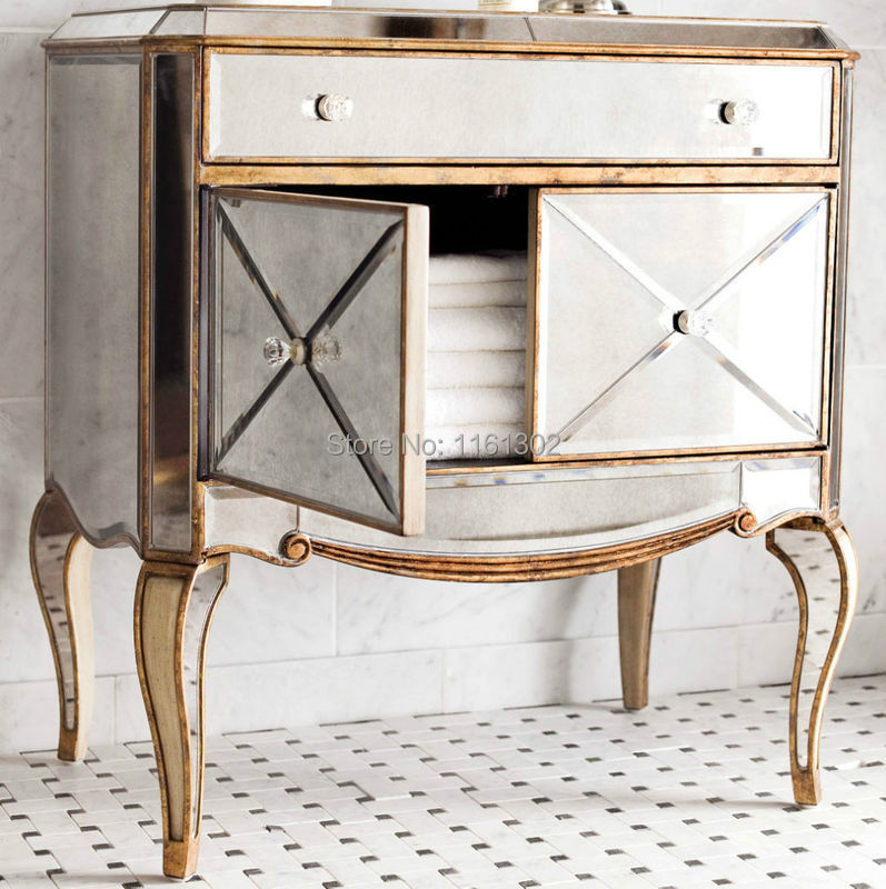MR 401115 Antique Gold Rimming Mirrored Chest For Bedroom Furniture In Dresse