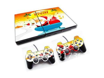PVC Sticker for PS2 console+2pcs controllers, OEM & Mixed designs are available, Free shipping!