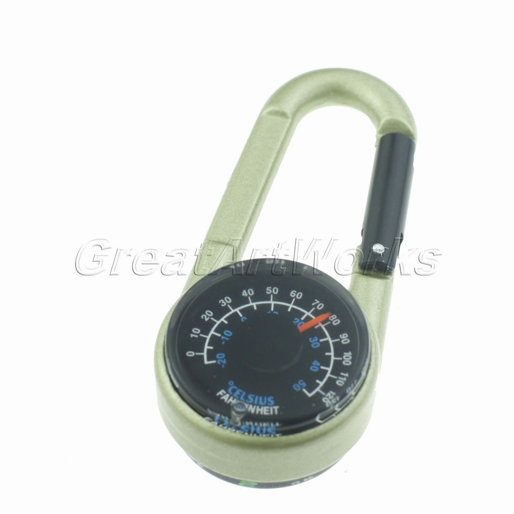 HOT SALE Useful Travel Survival Compass Thermometer with Keychain Carabiner for Camping Climbing(China (Mainland))