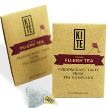 Royal Puer Tea ,24 pieces  ,  Whole Leaves Tea in Pyramid Tea Bags.By Kite.  Top grade puer tea as a Chinese Gift.