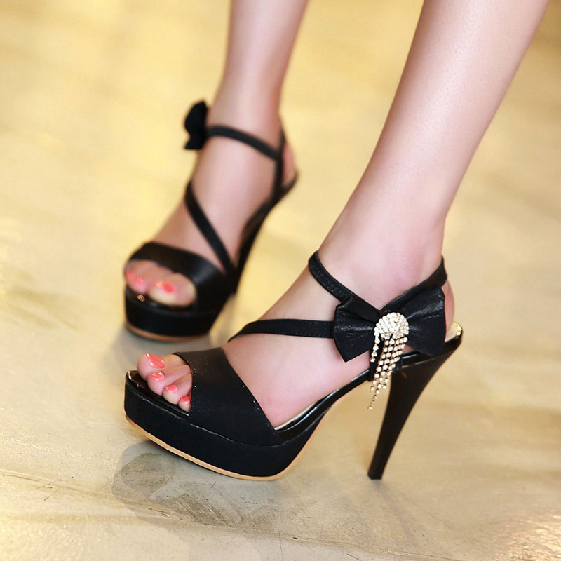 Free Shipping Fashion Thin High Heels Platform Velcro Summer Style Sandals Womens Shoe Black <br><br>Aliexpress
