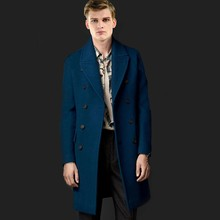 Ultra Long Male Overcoat Lapel Double Breasted Solid Color Hot-selling Blending Wool Overcoat Simple Casual Men Coat MSTS12(China (Mainland))
