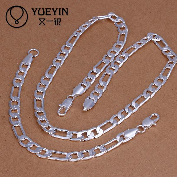 Nigerian Wedding African Bridal Jewelry Set 925 Sterling Silver Imitation Jewellery Accessories Long Chain Sets For Women S169(China (Mainland))