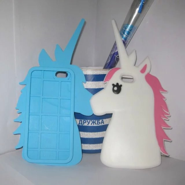 Fashion 3D Cute Cartoon Unicorn Soft Silicone Rubber Case Cover iPhone 4 4s 5 5s 6 4.7 inch plus 5.5 White Horse  -  Trading Group Store store