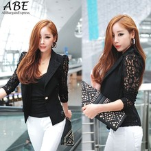 2016 New Sexy Womens short style Lace long sleeve One Button keep fit blouse Jacket fashion Suit Tops