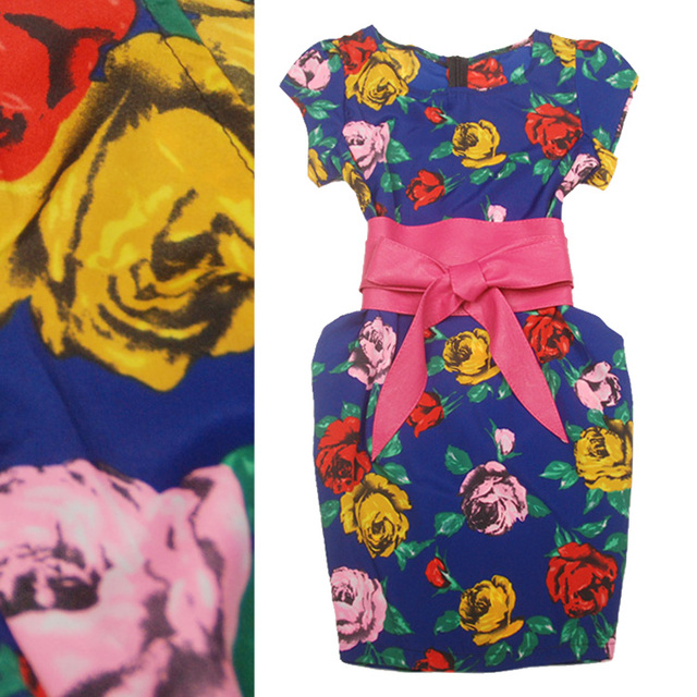 2013 spring new arrival romantic rose print luxury fashion cummerbund cute one-piece dress Women