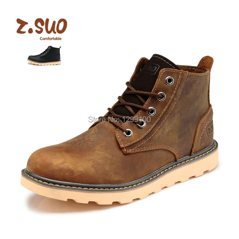 Genuine leather Men Boots Winter Shoes Platform Military Black Brown Safety Shoes Motorcycle Boots Winter Men Shoes 2015<br><br>Aliexpress