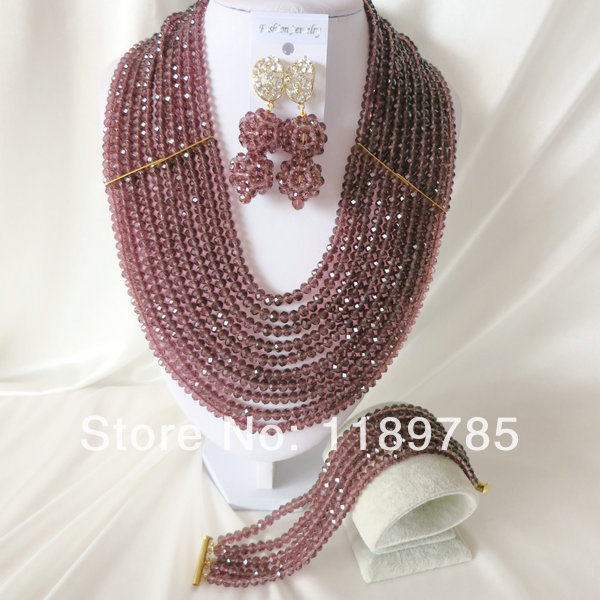 Fashion Nigerian African Wedding Beads Jewelry Set , Crystal Necklace Bracelet Earrings Set A-999<br><br>Aliexpress