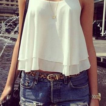 4 Colors Women Summer Clothing Bilayer Sleeveless Shirt Chiffon Loose Vest Tank Tops Blouse Women Crop Tops Free Shipping