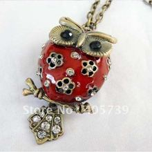 New Style Beautiful Owl Pendant weater Chain Red White Black Bird Necklace Fancy Jewelry 12pcs/lot Free Shipping(China (Mainland))