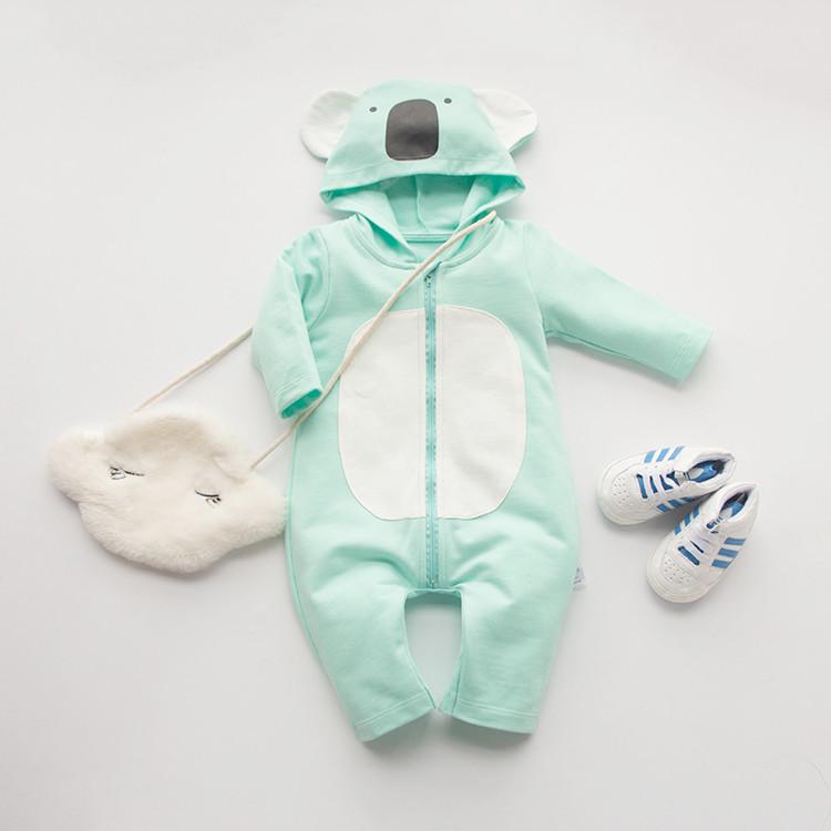 fashion green koala 100 Cotton long Sleeve font b Clothing b font Similar Jumpsuit Printed Baby