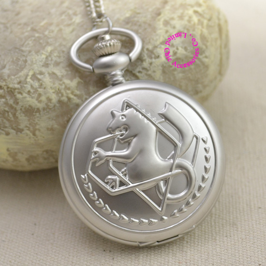 Fullmetal Alchemist Pocket Watch necklace women Cosplay Edward Elric Chain Anime Boys Gift New Silver Tone lady girl hot - Chic Watches store