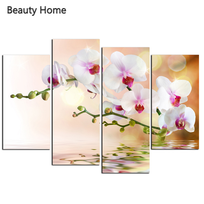 4 Pieces orchid flowers large canvas art cheap canvas painting cuadros decoracion wall pictures for bedroom canvas prints(China (Mainland))