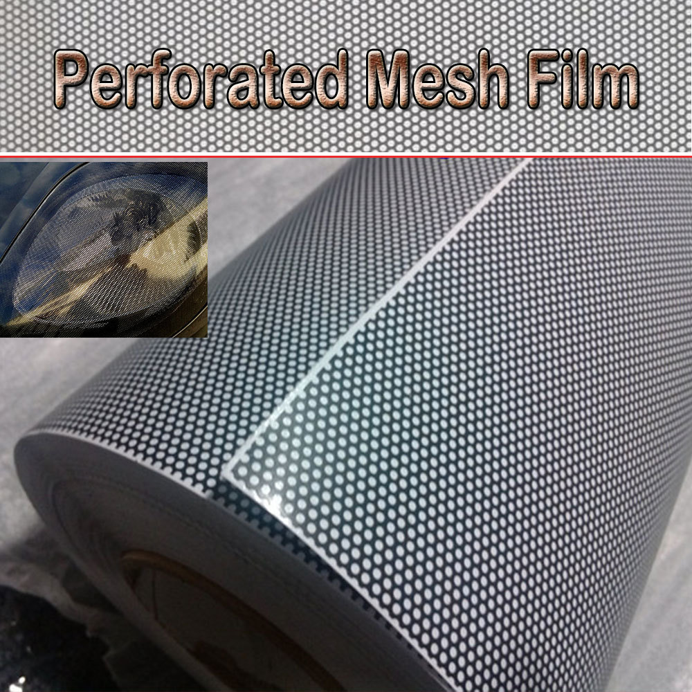 Window Tint Car One Way Vision Perforated Mesh Film Black Fly Eye Tint Tail Light Tint size:1.07x50m FedEx Free shipping(China (Mainland))