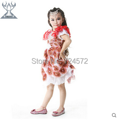 Private custom! Children belly dance costumes Peacock performing new children clothes suit(China (Mainland))