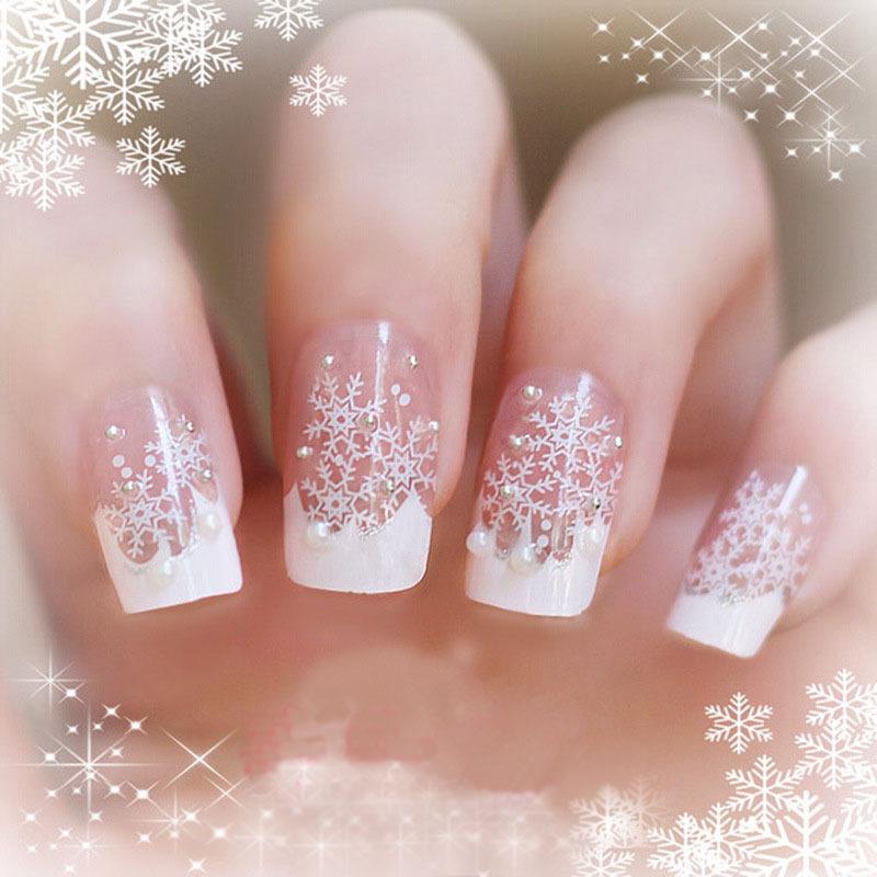Buy christmas snow flake false nails art for Acrylic nail decoration