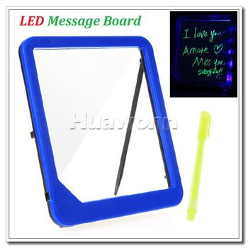 High quality LED Message Board Kids Painting Writing Panel with Fluorescent Marker Pen Blue Dropshipping