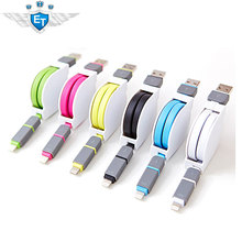 1M Flexible Retractable Towe-in-one USB Cable Micro USB Date Charge Cables for Mobile Phone High Quality (China (Mainland))