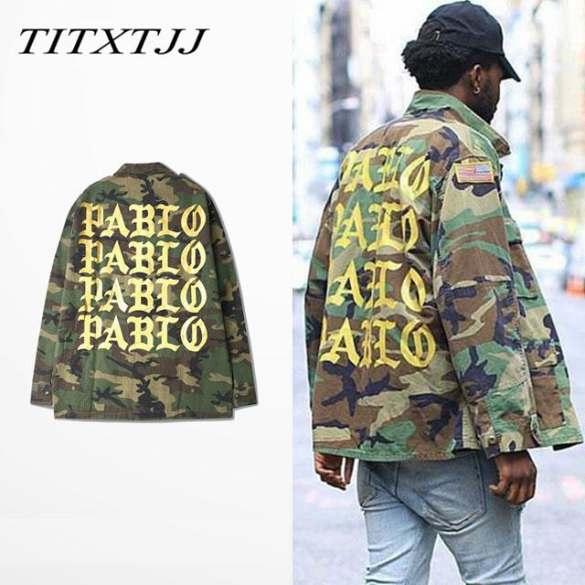 2016 FEEL LIKE PABLO Kanye camouflage jacket trend of men's jacket Spring baseball clothing for men and women(China (Mainland))