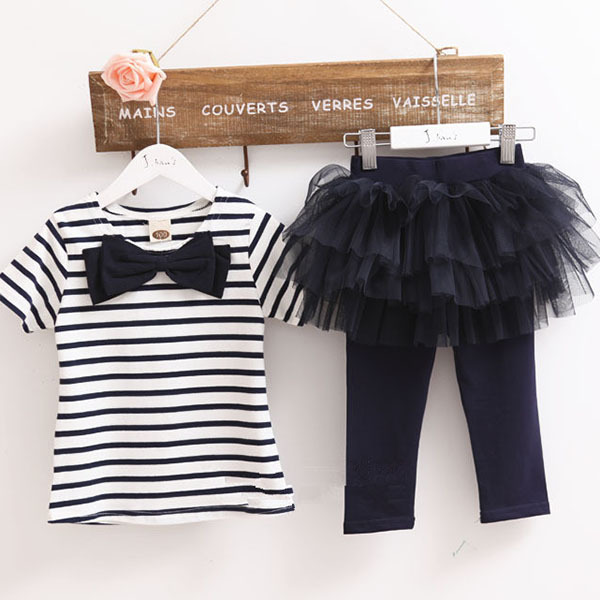Hot Kid Girl Stripe Bow Top T shirt Tutu Skirt Leggings Culottes 2pcs Outfit Sets