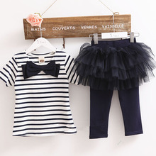 Kid Girl Stripe Bow Top T-shirt + Tutu Skirt Leggings Culottes 2pcs Outfit SetsFree&Drop Shipping
