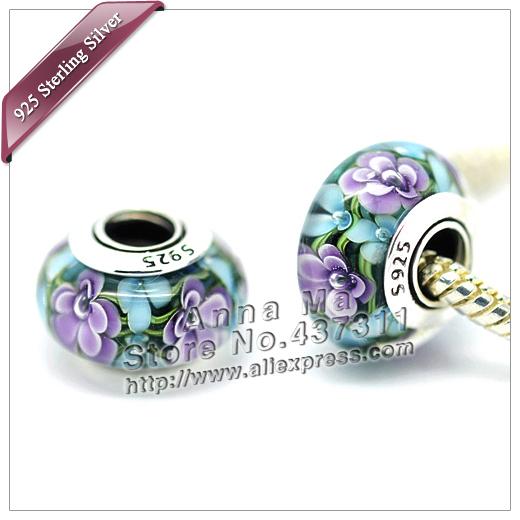 2pcs S925 sterling silver Violet Blue Murano Glass Beads Fit Europe pandora Charm Bracelets necklaces & pendants ZS244(China (Mainland))